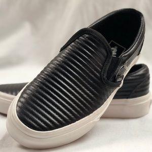 Vans Classic Slip-on Moto Leather Black Sneakers.